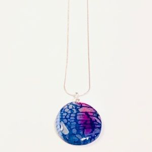 Navy Pink & White Dragon's Veins Agate Necklace